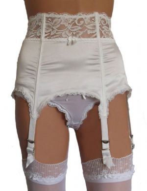 6 Strap Boned Suspender Belt in Gold, Ivory or Black